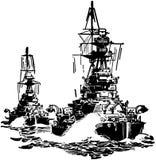 Approaching Battleships Royalty Free Stock Image