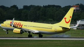 Approaching Boeing 737 of TuiFly airlines stock video