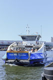 Approaching ferryboat in Amsterdam. Stock Photo