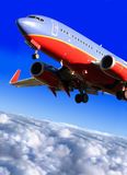Approaching final destination. The airplane approaching final destination Royalty Free Stock Image