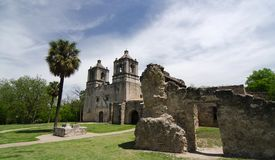 Approaching front entry of Mission Concepcion, San Antonio.  Royalty Free Stock Photo