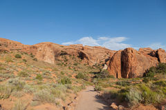 Approaching Landscape Arch in Arches N.P. Royalty Free Stock Image