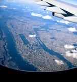 Approaching Manhattan New York. Manhattan in the evening sun from 10.000 feet stock photo