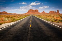 Approaching Monument Valley on Highway 163 Royalty Free Stock Photos
