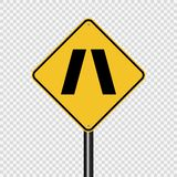 Symbol Approaching narrow bridge sign on transparent background. Approaching narrow bridge sign on transparent background stock illustration