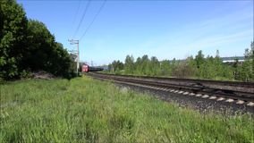 The approaching passenger train. stock footage