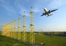 approaching plane runway Στοκ Εικόνες