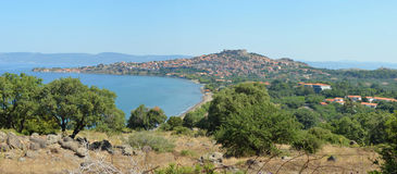 Approaching the popular holiday resort of Molyvos Stock Images