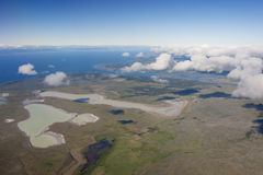 Approaching Punta Arenas. South American landscape from a plane Stock Photo
