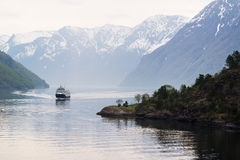 Approaching Ship on the Geirangerfjord, Norway Stock Images