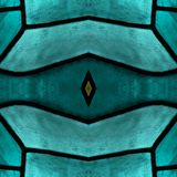 Approaching the stained glass in aquamarine colors, with symmetry and reflection effect, background and texture. Backdrop for color ads, creative pattern and stock images