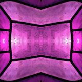 Approaching the stained glass in pink colors, with symmetry and reflection effect, background and texture. Backdrop for color ads, creative pattern and geometric vector illustration