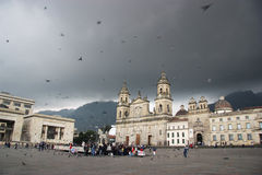 Approaching Storm. Plaza Bolivar in Bogota, Colombia prior to a storm approaching from over the mountains Stock Photography
