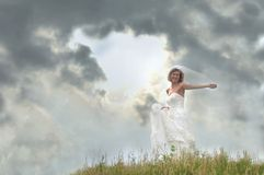 Approaching Storm and Bride Royalty Free Stock Image