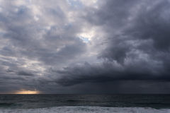 Approaching storm cloud. With rain over the sea during sunrise Stock Images