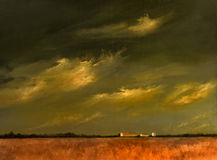 Approaching Storm on the fields. A beautiful Original landscape painting with Barn and Wheat Fields Royalty Free Stock Photos