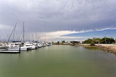 Approaching Storm. Storm approaching over the marina at Scarborough, Queensland, Australia Stock Photography