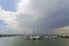 Approaching Storm. Storm approaching over the marina at Scarborough, Queensland, Australia Stock Photos