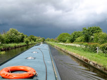 Approaching storm. View from a narrowboat in the Shropshire Union Canal Stock Photo