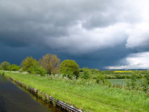 Approaching storm. View from a narrowboat on the Shropshire Union Canal Royalty Free Stock Image
