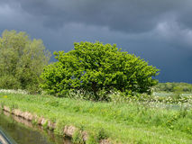 Approaching storm. View from a narrowboat on the Shropshire Union Canal Stock Photos