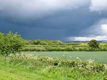 Approaching storm. View from a narrowboat on the Shropshire Union Canal Stock Image