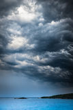 Approaching storm weather over the sea and small islands Royalty Free Stock Image