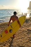 Approaching the surf at Waikiki Royalty Free Stock Photography