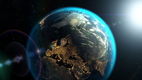 Approaching to the dark side of the Earth with sunrise, 3D animation. Computer-generated footage on the space theme. Textures of the Earth and Space were stock footage