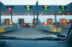 Approaching the toll booth Royalty Free Stock Photography