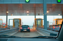 Approaching the toll booth Royalty Free Stock Photos