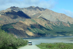 Approaching tour bus at Denali National Park Royalty Free Stock Photo