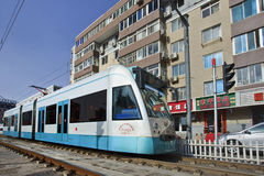 Approaching tram in city center of Dalian, China Stock Images