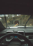 Approaching a tunnel on a rainy highway Royalty Free Stock Image