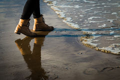 Stepping from a Wave Royalty Free Stock Image