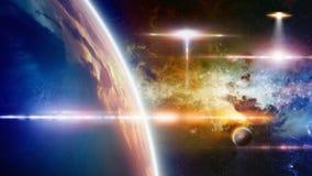 Approcci del UFO a pianeta Terra fotografia stock libera da diritti
