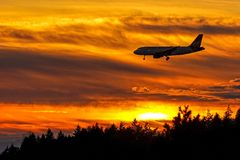 Approccio di tramonto Fotografie Stock