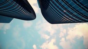 Approccio verticale dell'angolo alto ad una risoluzione delle città alla vita urbana con i grattacieli, i complessi di uffici e g archivi video