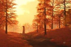 Approches de crépuscule dans le Sleepy Hollow illustration libre de droits