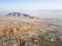 Approches into Kabul International Airport. Aerial flight into the Kabul International Airport in September 2017 Stock Image