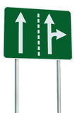 Appropriate traffic lanes crossroads junction sign royalty free stock images