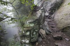The Devils Path in the Catskill Mountains. The appropriately named trail called the Devils Path makes its way up a mountainside stock photos
