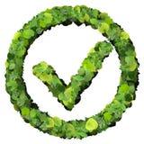 Approuvé, correct, comme, signe d'eco fait à partir des feuilles vertes 3d rendent Images libres de droits