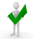 Approval. Man holding a green tick mark; concept for approval and acceptance royalty free illustration