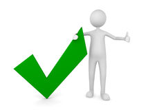 Approval. Man with a green tick mark; Concept for approval and acceptance stock illustration