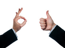 Approval. Two hands showing gestures of approval Stock Photography