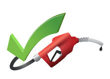 Approval check mark with a gas pump nozzle. Illustration design over a white background royalty free illustration
