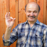 Approval and positive recommendations. Elderly man in a plaid shirt, bald, with a mustache shows sign okay stock photography