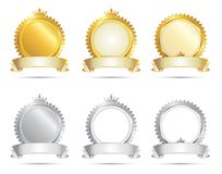 Approval Seal Gold & Silver Set Royalty Free Stock Images