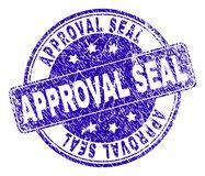 Grunge Textured APPROVAL SEAL Stamp Seal. APPROVAL SEAL stamp seal watermark with grunge texture. Designed with rounded rectangle and circles. Blue vector rubber vector illustration